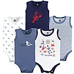 Hudson Baby® Size 0-3M 5-Pack Sea Shore Sleeveless Bodysuits in Blue