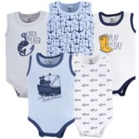 Yoga Sprout Size 3-6M 5-Pack Sleeveless Fisherman Bodysuits in Blue/White
