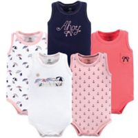 Yoga Sprout Size 6-9M 5-Pack Sleeveless Sandy Beach Bodysuits in Pink