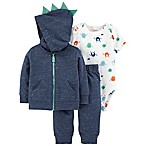 carter's® 3M 3-Piece Monster Little Jacket Set in Blue