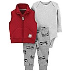carter's® Size 3M 3-Piece Vest, Bodysuit, and Pant Set in Burgundy/Grey