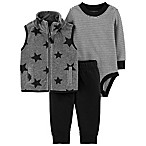 carter's® Size 9M 3-Piece Star Vest, Bodysuit, and Pant Set in Grey/Black