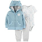 carter's® Size 3M 3-Piece Bear Hooded Jacket, Bodysuit, and Pant Set in Light Blue