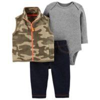 carter's® Size 3M 3-Piece Camo Vest, Bodysuit, and Pant Set
