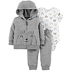 carter's® Newborn 3-Piece Bear Hooded Jacket, Bodysuit, and Pant Set in Grey