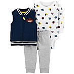 carter's® Size 6M 3-Piece Football Vest, Bodysuit, and Pant Set in Blue