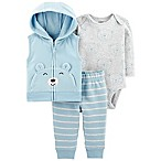 carter's® Size 3M 3-Piece Bear Vest, Bodysuit, and Pant Set in Blue/Grey
