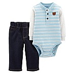 carter's® Size 3M 2-Piece Stripe Henley Bodysuit and Pant Set in Blue