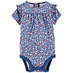 OshKosh B'gosh® Size 3-6M Floral Short Sleeve Bodysuit in Blue