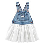 OshKosh B'gosh® Size 3-6M Denim and Eyelet Skortall in White