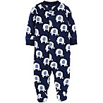 carter's® Size 3M Elephant Snap-Up Fleece Sleep & Play Footie in Navy