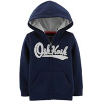 OshKosh B'gosh® Size 18-24M Zip-Front Logo Hoodie in Navy