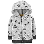 OshKosh B'gosh® Size 0-3M Zip-Front Monster Hoodie in Grey