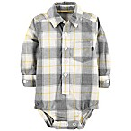 OshKosh B'Gosh® 0-3M Plaid Bodysuit in Gray/Yellow