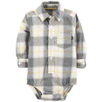 OshKosh B'Gosh® 6-9M Plaid Bodysuit in Gray/Yellow