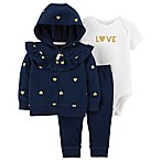 carter's® Newborn 3-Piece Love Cardigan, Bodysuit and Pant Set in Navy