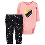 "carter's® Size 18M 2-Piece Heart ""Mom"" Bodysuit and Pant Set in Pink"