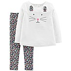 carter's® Size 3M 2-Piece Bunny Face Top and Pant Set in Ivory