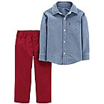 carter's® Newborn 2-Piece Chambray Shirt and Canvas Pant Set in Blue/Red