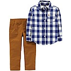 carter's® Newborn 2-Piece Gingham Shirt and Canvas Pant Set in Navy/Khaki