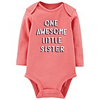 carter's® Size 6M Awesome Sister Long Sleeve Bodysuit in Pink
