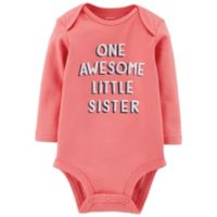 carter's® Size 9M Awesome Sister Long Sleeve Bodysuit in Pink