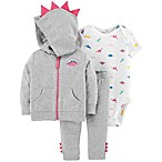 carter's® Size 3M 3-Piece Dino Cardigan, Bodysuit and Pant Set in Grey