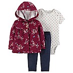 carter's® Newborn 3-Piece Floral Denim Cardigan, Bodysuit and Pant Set in Burgundy