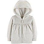 carter's® Newborn Fleece-Lined Zip-Front Long Sleeve Hoodie in Grey