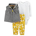 carter's® Quilt Size 3M 3-Piece Vest, Bodysuit and Pant Set in Grey/Yellow