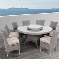 OVE Decors Habra II 9-Piece Indoor/Outdoor Dining Set in Grey