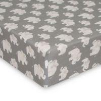 Glenna Jean Elephant Herd Fitted Mini Crib Sheet in Stone