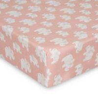 Glenna Jean Elephant Herd Fitted Mini Crib Sheet in Blush