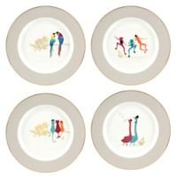 Portmeirion® Piccadilly Birds/Frogs/Cats Dessert Plates (Set of 4)