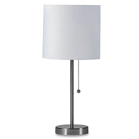 Brushed Steel Table Lamp with White Shade and CFL Bulb