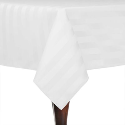 Striped 60 Inch X 108 Inch Oblong Tablecloth In White