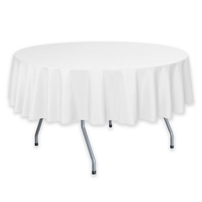 Attrayant 60 Inch Round Polyester Tablecloth In White