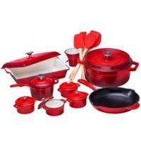 Bruntmor™ Nonstick Enameled Cast Iron 21-Piece Cookware Set in Red