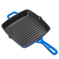 Bruntmor™ Nonstick 10-Inch Enameled Cast Iron Square Grill Pan in Cobalt Blue