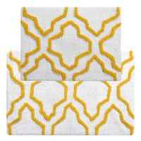 "2-Tone Quatrefoil 2-Piece 24"" x 17"" and 34"" x 21"" Bath Mat Set in White/Yellow"