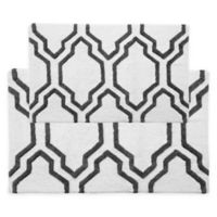 "2-Tone Quatrefoil 2-Piece 24"" x 17"" and 34"" x 21"" Bath Mat Set in White/Grey"