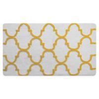 """2-Tone Geometric 50"""" x 30"""" Bath Mat in White/Yellow"""