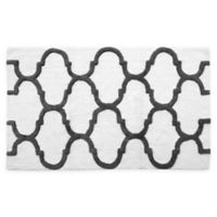 "2-Tone Geometric 34"" x 21"" Bath Mat in White/Grey"
