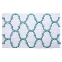 """2-Tone Geometric 36"""" x 24"""" Bath Mat in White/Blue"""