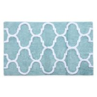 "2-Tone Geometric 36"" x 24"" Bath Mat in Blue/White"