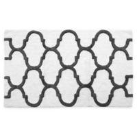 "2-Tone Geometric 36"" x 24"" Bath Mat in White/Grey"