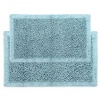 "Chenille Long Noodle 2-Piece 24"" x 17"" and 34"" x 21"" Bath Mat Set in Blue"