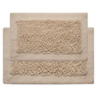 "Chenille Long Noodle 2-Piece 24"" x 17"" and 34"" x 21"" Bath Mat Set in Ivory"