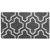 "2-Tone Quatrefoil 36"" x 24"" Bath Mat in Grey/White"
