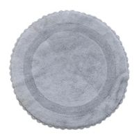 """Crochet Lace Border 36"""" Round Reversible Bath Mat in Silver"""
